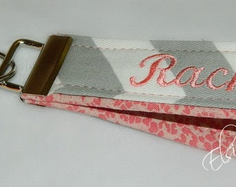 Choose any Color Combo Grey Chevron or Nectarine Coral Peach Accent Personalized Key Fob Chain Wristlet