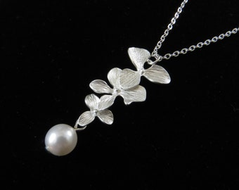 Orchid Necklace With Pearl Drop, Bridesmaids Gift, Cascading Orchid Necklace, Triple Orchid Necklace, Rhodium Plate, Bridesmaids Gift