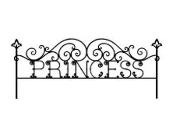 "Headboard Princess Twin Vinyl Wall Decal 42 x 17""  Wrought Iron decal"