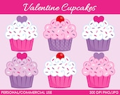 Valentine's Cupcakes Clipart - Digital Clip Art Graphics for Personal or Commercial Use