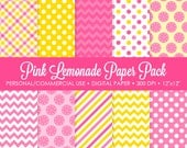 Pink Lemonade Digital Printable Paper Pack - For Commercial or Personal Use