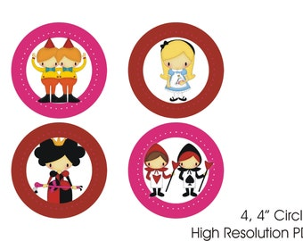 "Alice In Wonderland Birthday 4"" Circles - Banner - Decoration - Digital - INSTANT DOWNLOAD"
