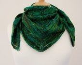 Hand Dyed Green Tweed Wool Shawl