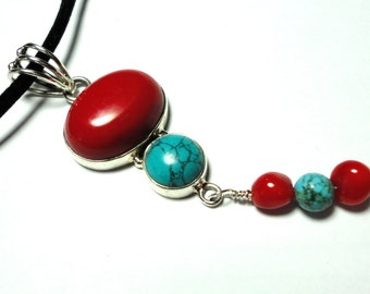 Red Coral and Turquoise Pendant in Sterling Silver on Black Suede Cord