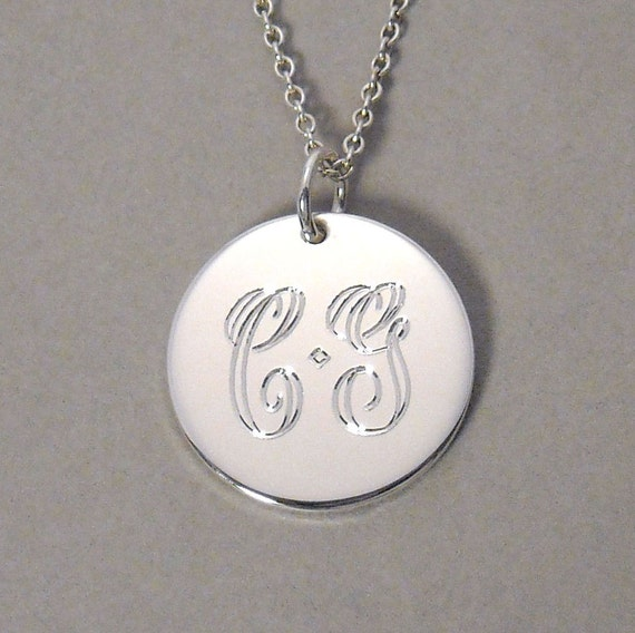 Monogram necklace personalized engraved 2 initial pendant personalized on a 5/8 inch round circle disc charm UDLS-C- DBL