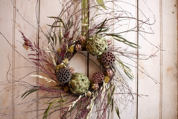 Artichoke and lotus wreath natural decor kitchen wreath for Artichoke decoration