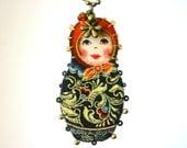 Romina - Matryoshka sautoir long necklace black red and golden