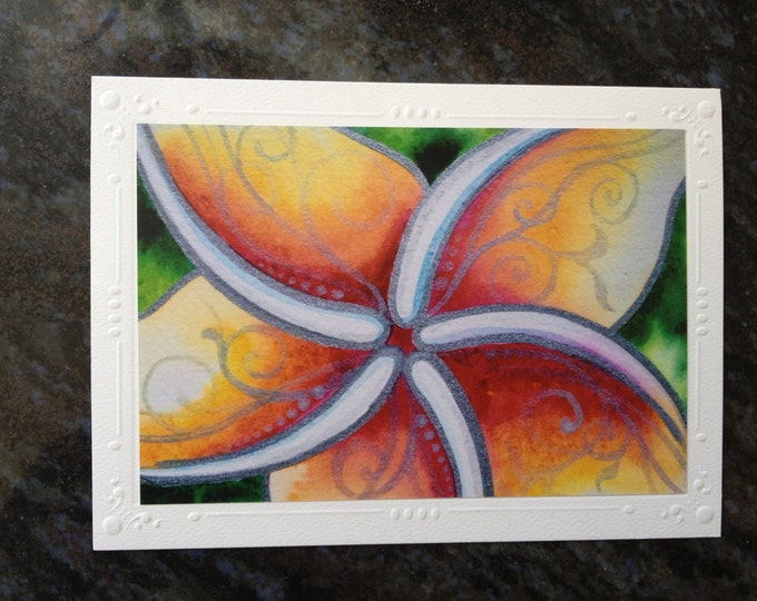 Greeting Card Set of 5, Note Cards- Blank- Abstract Tribal Tropical Plumeria Flower Watercolor Mixed Media Art By Christie Marie Elder