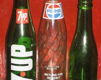 3 Pop Bottles 1970 Lot 7 Up Pepsi Beer Green Glass Seventies Soda Pop Collectibles