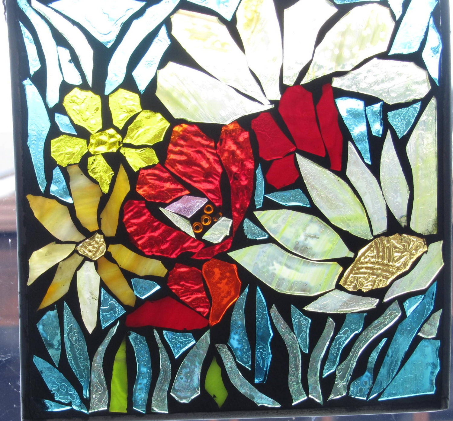 Spring Flowers Stained Glass Mosaic Wall Art Panel Window
