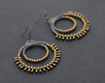 Grey Chandelier Drop Earrings