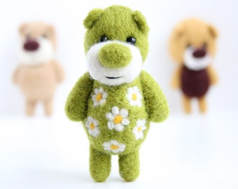 Felted miniature green pocket bear with flowers