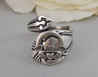 Lucky Girl,Ring,Silver,Irish,Claddagh,Antique Ring,Silver Ring,Spoon Ring,Shamrock,Wedding, Handmade jewelery by valleygirldesigns.