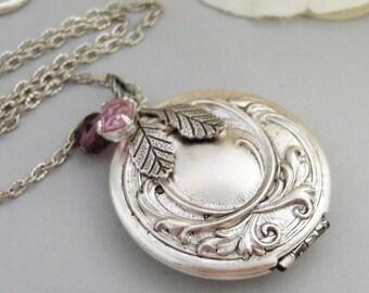 Amethyst Maiden,Locket,Silver Locket,Flower,Purple,Amethyst,Antique Locket,Floral,Jewelry. Handmade jewelry by valleygirldesigns.
