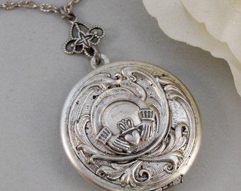 Caitlins Claddagh,Claddagh, Antique Locket,Silver Locket,Heart,Crown, Irish,Lucky, Shamrock,Love. Handmade jewelry by valleygirldesigns