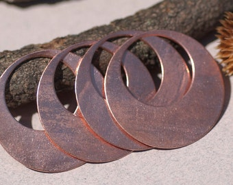 Copper Blank Hoops 38mm 24g for Earrings or Pendant Offset Circle for Enameling Stamping Texturing Blanks