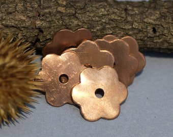 Copper  6 Petal Flowers 19.5mm with Center for Blanks Enameling Metalworking Stamping Texturing Soldering Blanks - 6 pieces