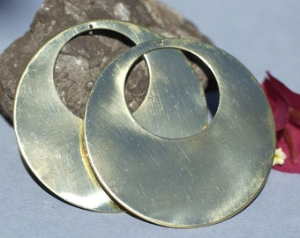 Brass 65mm Blanks Hoops 20G for Earrings or Pendant Offset Circle with Hole for Stamping Texturing Charms, Jewelry Supplies