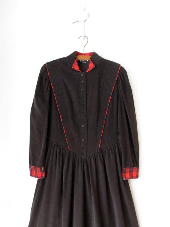 90s Pinafore Dress ... Vintage Brown Corduroy Plaid Prairie Dress ... Large