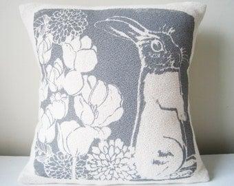 Bunny pillow Charcoal Gray, 10 inch, Hand Printed Bark Cloth