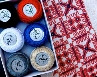"Pearl cotton thread size 8, Portuguese Embroidery floss ""Guimarães"" colors,  six balls, white, ecru, red, gray, blue, black, valentines day"