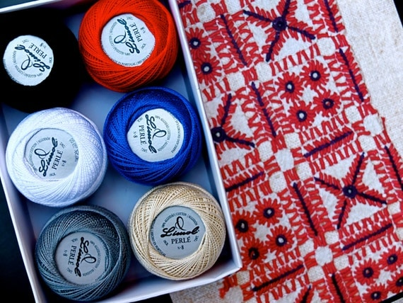 """Pearl cotton thread size 8, Portuguese Embroidery floss """"Guimarães"""" colors,  six balls, white, ecru, red, gray, blue, black, valentines day"""