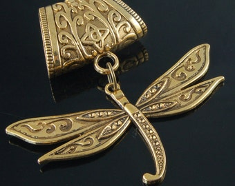 Scarf Pendant - Gold Dragonfly Flight Scarf Jewelry