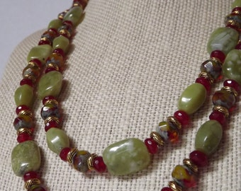 Green Jade and Agate Necklace