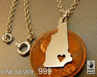 NEW HAMPSHIRE State Map Handmade Personalized Fine Silver .999 Necklace in a gift box