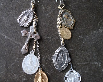 Antique layered chain religious medallion Earrings
