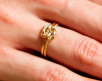 Etsy jewelry, moms gift, 16g thick, yellow, 14kt gold fill, twist and plain, double knot ring, celtic