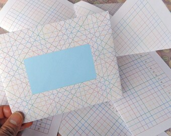 Printable Graph Paper - Envelopes and Cards - Immediate Downloads - DIY - Coloring with Colored Pencils.