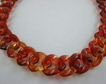 30 inch.Amber Chunky Chain Plastic Link Necklace Craft DIY (Round) (Big Size.) CRB7