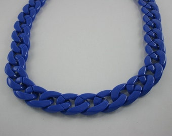 30 inch Navy Blue Chunky Chain Plastic Link Necklace Craft DIY Decorations Findings (Flat) (Big Size) CB1