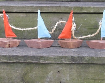 OOAK Reclaimed Wooden Sailboat Garland. Nautical Garland. Nautical Decor. Beach Decor. Home Decor. Made to Order