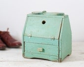 Primitive Wooden Shoeshine Box - Folk Art Green Painted Box with Storage Drawer