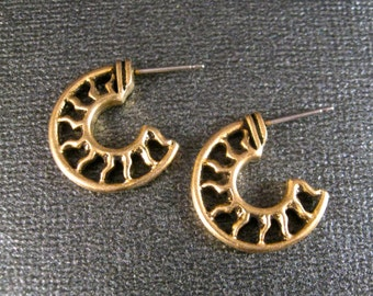 Sun Half Hoop Earrings TierraCast Suns Add Dangles Create your Own Designs Antiqued Gold Plated Lead FreePewter Surgical Steel Posts