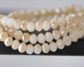 95pcs Faceted Rondelle Glass Beads 4x6mm White Champagne -(BZ06-49)