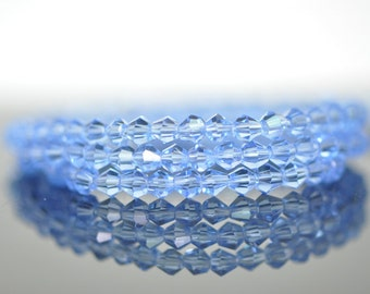 115pcs Crystal  BiCone Faceted 4mm Glass Beads Blue-(LZ04-2)