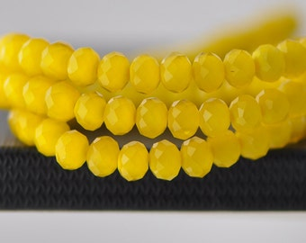 Faceted Rondelle Glass Beads 4x6mm Yellow 95pcs /(BZ06-28)