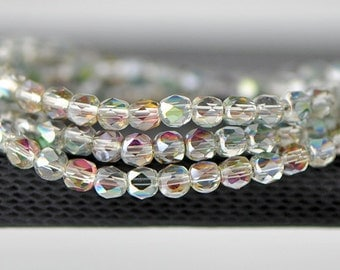 95pcs Round Faceted Crystal Glass Beads 4mm Sparkle Rose Green-(18QZ04-1)