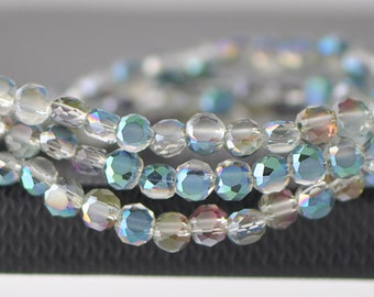 Rondelle Crystal Glass Faceted beads Matte 4mm Green Rose -(MB04-5)/ 95pcs