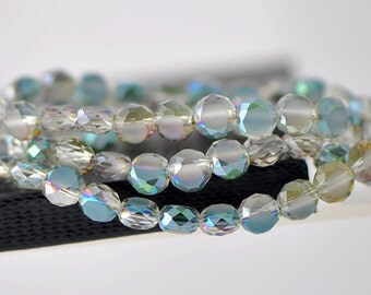 Rondelle Crystal Glass Faceted beads 8mm Matte Green Rose -(MB08-1)/ 70pcs