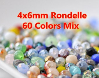 300pcs  Rondelle Crystal Glass Faceted Beads 4x6mm Mix Color- MX02