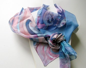 Hand painted silk scarf - ponge luxury silk - Decorative blue and pink floral ornaments 180x45