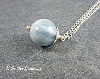 Aquamarine Pendant Sterling Silver Aquamarine Gemstone Necklace March Birthstone