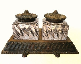 Rare Antique Fostoria Bronze Inkwell Set with Lavender Swirl Glass Insets