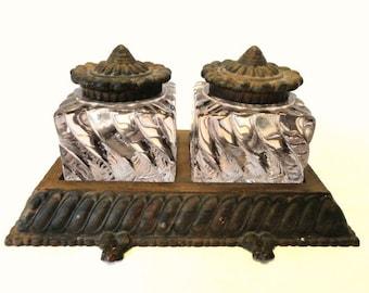 Antique Bronze Fostoria Inkwell Lavender Swirl Glass/Vintage Inkwell Set/Desk Accessories