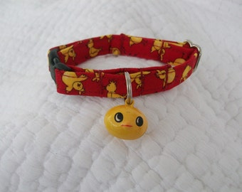 Red Yellow Chick with Chick Bell Cat   Breakaway Collar Custom Made