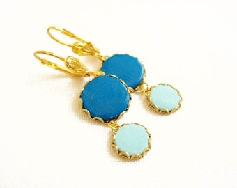 Polymer Clay Earrings, Blue Gold Dangle Earrings - Color Dot Collection - Handmade Polymer Clay Statement Earrings